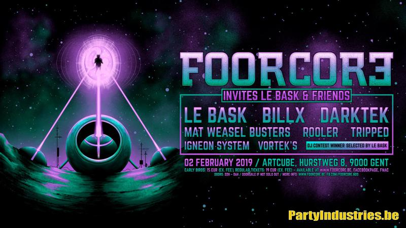 Flyer van Foorcore invites Le Bask & Friends