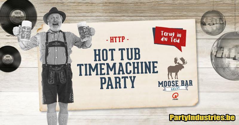Flyer van HotTub Timemachine Party met Jan V