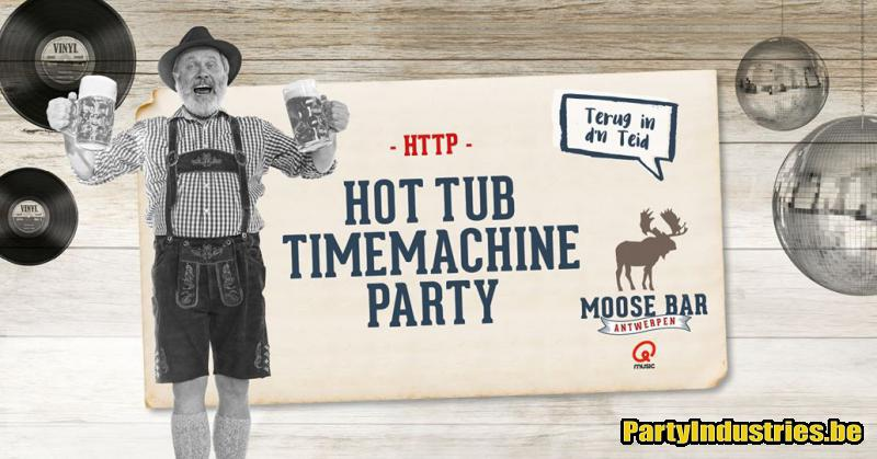 Flyer van Hot Tub Timemachine Party met DJ Tom Cosyns