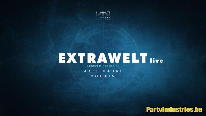 Flyer van Club Vaag invites Extrawelt live