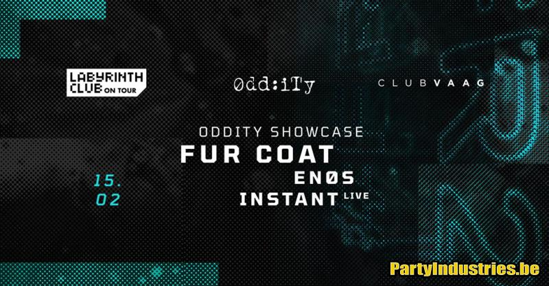 Flyer van Oddity showcase with Fur Coat, Instant live and Enos