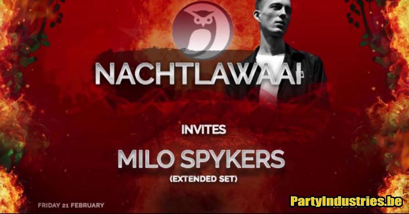 Flyer van Nachtlawaai invites Milo Spykers (extended set)