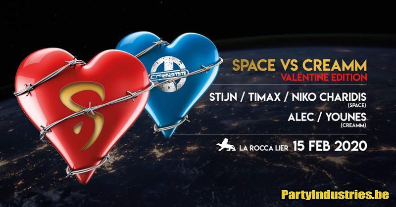 Flyer van Space vs Creamm  Valentine Edition