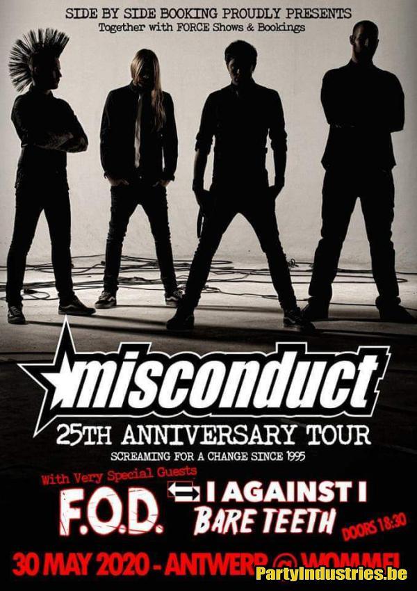 Flyer van Misconduct / I Against I / FOD / Bare Teeth