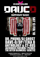 Flyer van Ghosthouse: Dave-D B-Day Bash