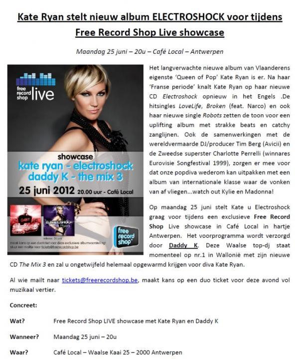 Nieuws afbeelding: Kate Ryan stelt nieuw album voor @ FRS Live showcase